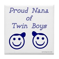 Proud Nana of Twin Boys - smiley Tile Coaster