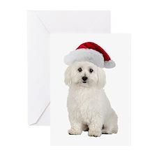 Bichon Frise Santa Greeting Cards (Pk of 10)
