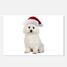 Bichon Frise Santa Postcards (Package of 8)