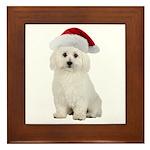 Bichon Frise Santa Framed Tile