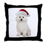 Bichon Frise Santa Throw Pillow