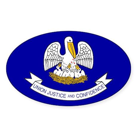 Louisiana State Flag Oval Sticker