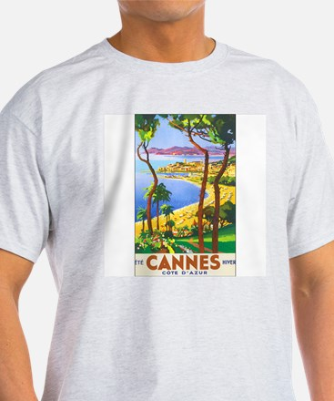 Cannes France (Front) Ash Grey T-Shirt