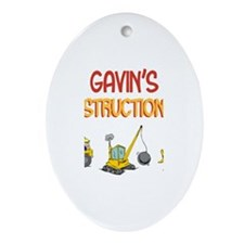 Gavin's Construction Tractors Oval Ornament