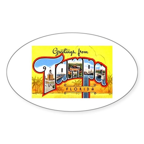 Tampa Florida Greetings Oval Sticker