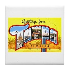 Tampa Florida Greetings Tile Coaster