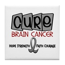 CURE Brain Cancer 1 Tile Coaster