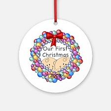 1st Christmas Twins & Wreath Ornament 2008