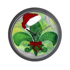 Christmas Fleur de lis Wall Clock
