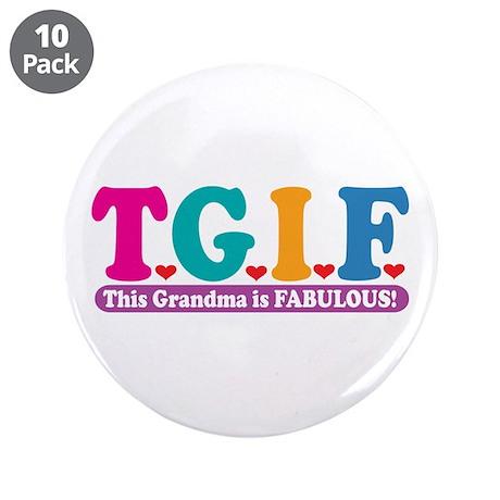 "Fabulous Grandma 3.5"" Button (10 pack)"