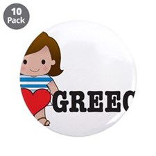 """I Love Greece 3.5"""" Button (10 pack)"""