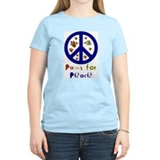 Paws for Peace Navy Women's Pink T-Shirt