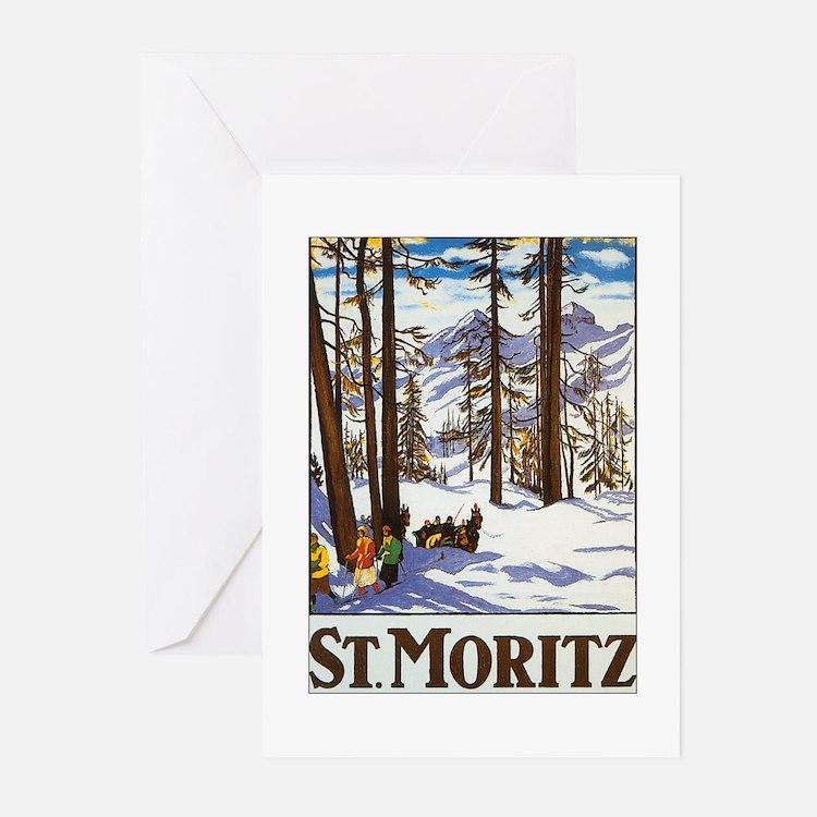 St Moritz Switzerland Greeting Cards (Pk of 10