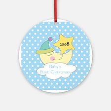 1st Christmas Baby Boy Moon Ornament 2008