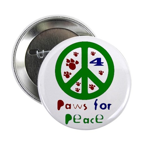 Paws For Peace Green Button