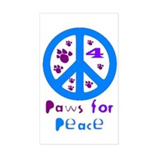 Paws for Peace Blue Rectangle Decal