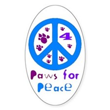 Paws for Peace Blue Oval Decal