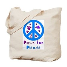 Paws for Peace Blue Tote Bag
