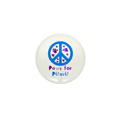 Paws for Peace Blue Mini Button (10 pack)