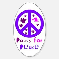Paws for Peace Purple Oval Decal