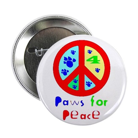 "Paws for Peace Red 2.25"" Button (100 pack)"