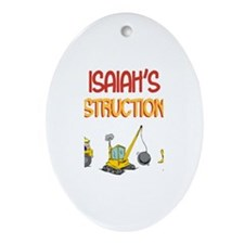Isaiah's Construction Tractor Oval Ornament