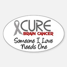 CURE Brain Cancer 2 Oval Decal