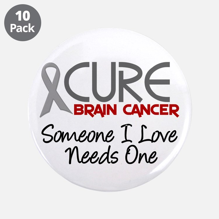 """CURE Brain Cancer 2 3.5"""" Button (10 pack)"""