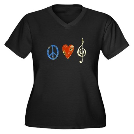 Peace, Luv, Music D Women's Plus Size V-Neck Dark