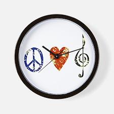 Peace, Luv, Music D Wall Clock