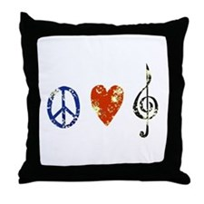Peace, Luv, Music D Throw Pillow
