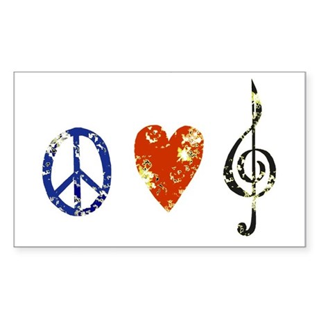 Peace, Luv, Music D Sticker (Rectangle)
