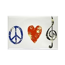 Peace, Luv, Music D Rectangle Magnet
