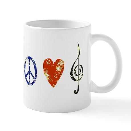 Peace, Luv, Music D Mug
