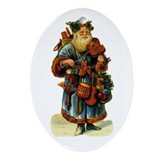 Vintage Santa with violin Oval Ornament