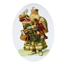 Vintage Santa with Doll Oval Ornament