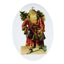 Vintage Santa with Bell Oval Ornament
