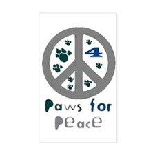 Paws for Peace Grey Rectangle Decal