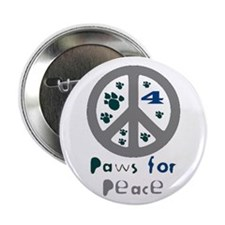 Paws for Peace Grey Button