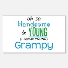 Handsome and Young Grampy Rectangle Decal