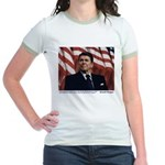 Reagan on the Ten Commandments Jr. Ringer T-Shirt