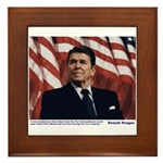 Reagan on the Ten Commandments Framed Tile