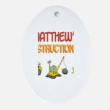 Matthew's Construction Tracto Oval Ornament