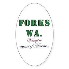 Twilight Forks Joke Oval Decal