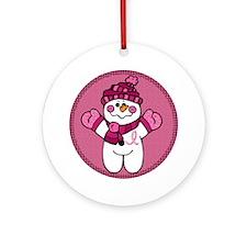 Pink Ribbon Snowwoman Ornament (Round)