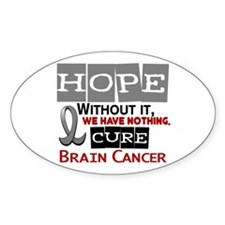 HOPE Brain Cancer 2 Oval Sticker (10 pk)