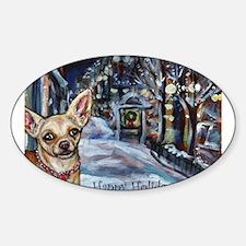 Chihuahua xmas holiday Oval Sticker (10 pk)