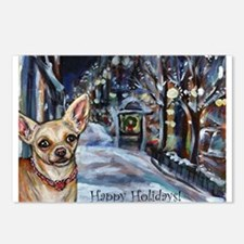 Chihuahua xmas holiday Postcards (Package of 8)