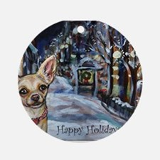 Chihuahua xmas holiday Ornament (Round)