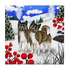 AKITA DOGS WINTER BERRIES Tile Coaster